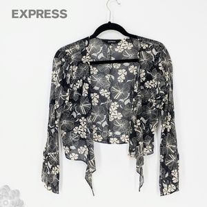 EXPRESS 100% Silk Sheer Tie Front Top